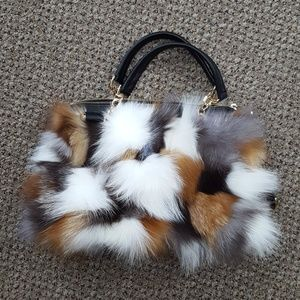 Multicolor Fox Fur Sections Purse with Leather